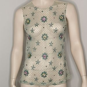 Zara Mesh Bejeweled Embellished Tank Top